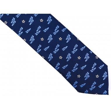 Granatowy krawat męski z motywem piłkarskim D172