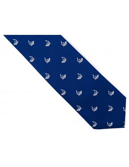 Granatowy krawat męski z rekinami D173