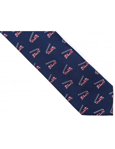 Granatowy krawat męski - wozy strażackieD176