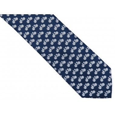 Granatowy krawat męski - rowery D177