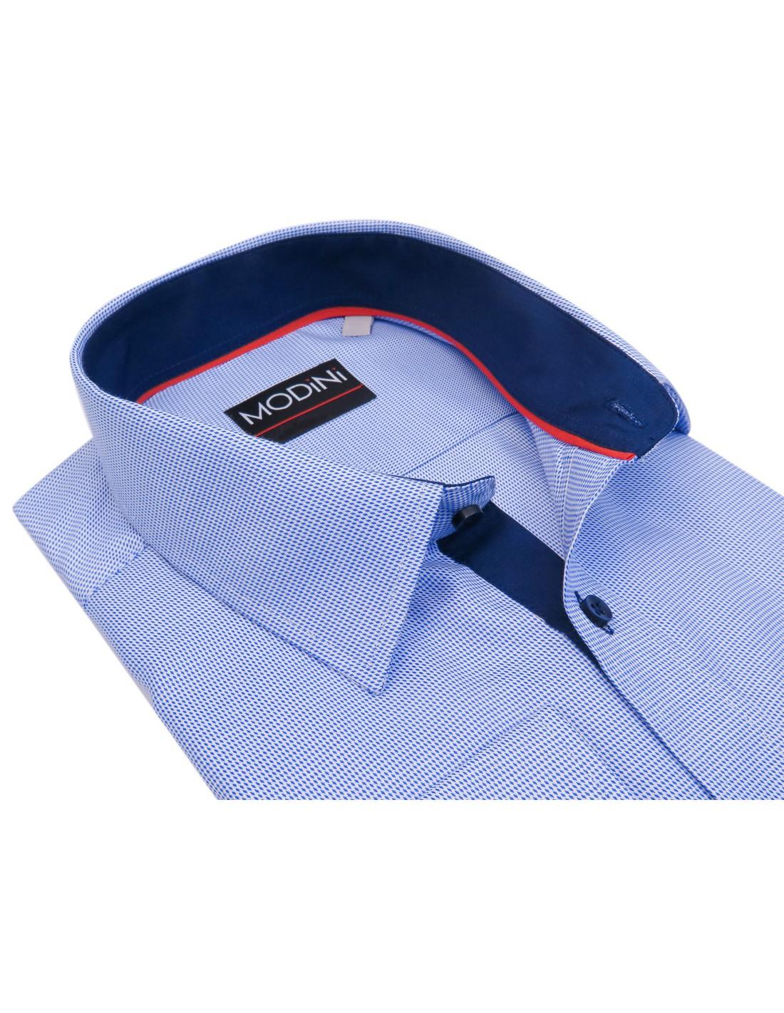 f9077a1bf16be5 Biała koszula w niebieskie drobne romby A32 | Sklep Internetowy ...