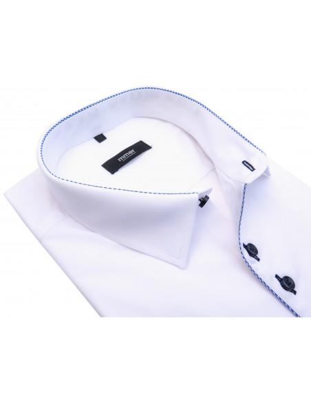 Biała koszula z krótkim rękawem i niebieskimi wykończeniami 924K