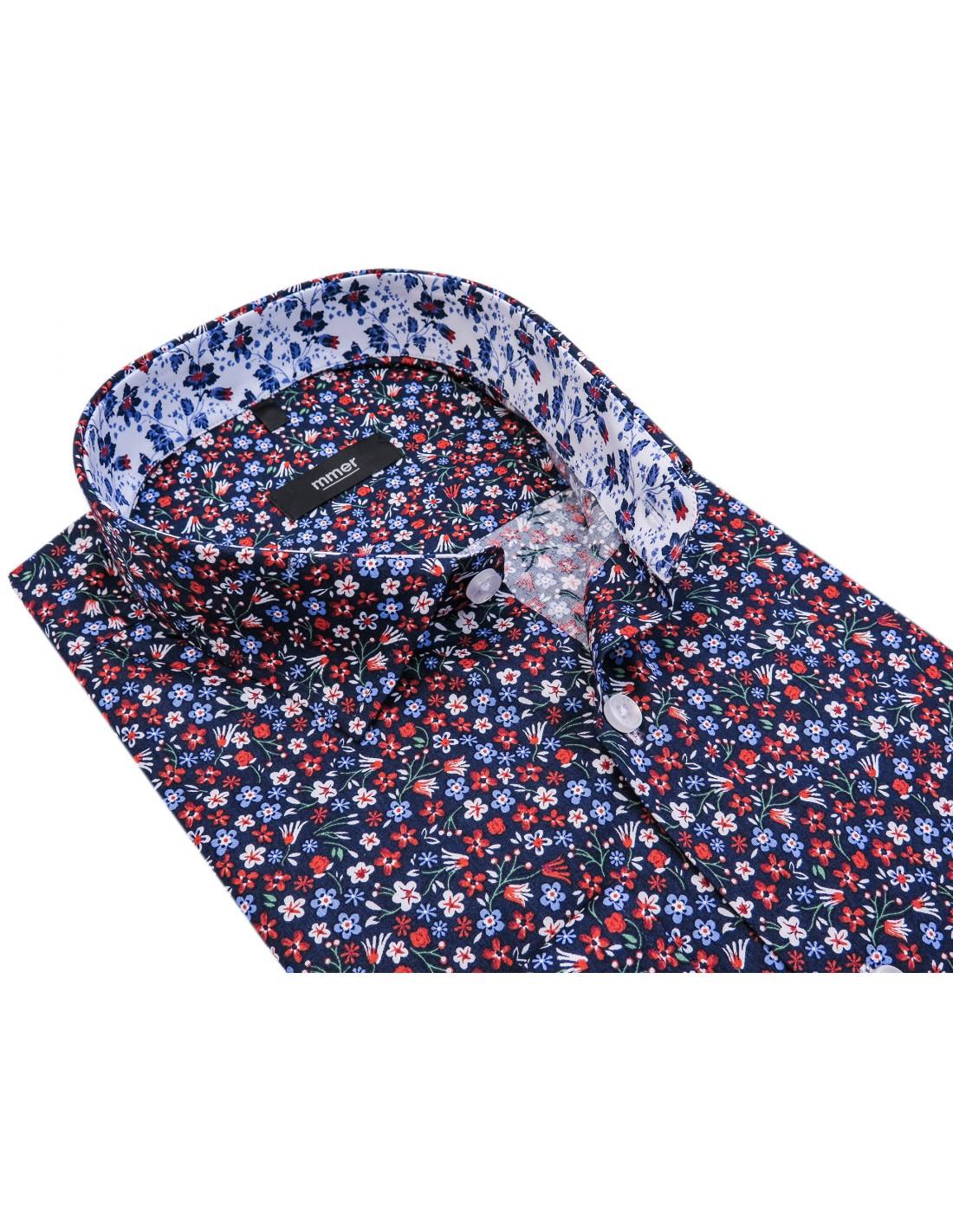 6ef3506d0062ae Granatowa koszula męska w kolorowe kwiatki 761 | Sklep Internetowy ...