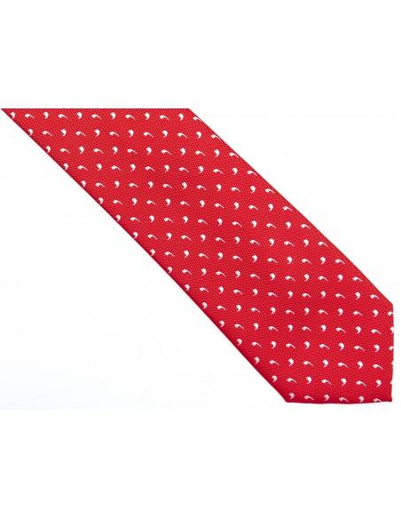 Czerwony krawat męski w białe przecinki D192