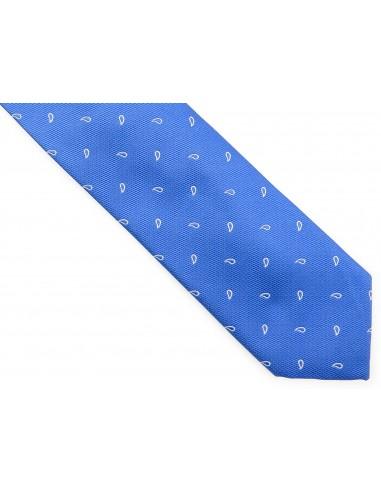 Błękitny krawat w białe łezki D193