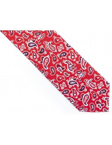 Czerwony krawat w paisley D195