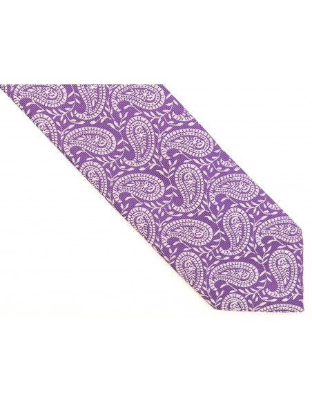Fioletowy krawat w paisley D196