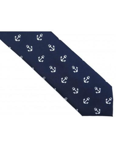 Granatowy krawat w kotwice D203