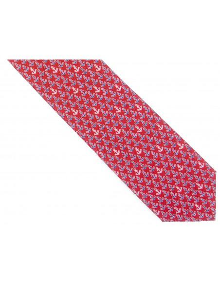 Czerwony krawat w kotwice D205