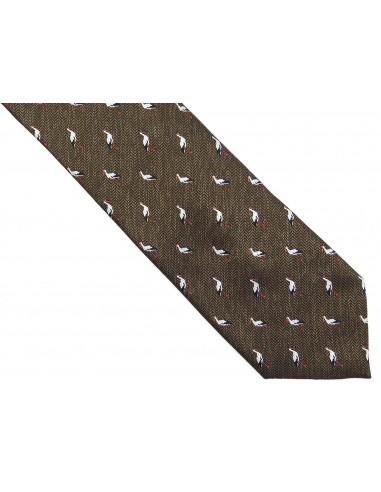 Brązowy krawat w bociany D209