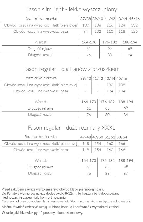 Koszule Modini - tabela rozmiarów