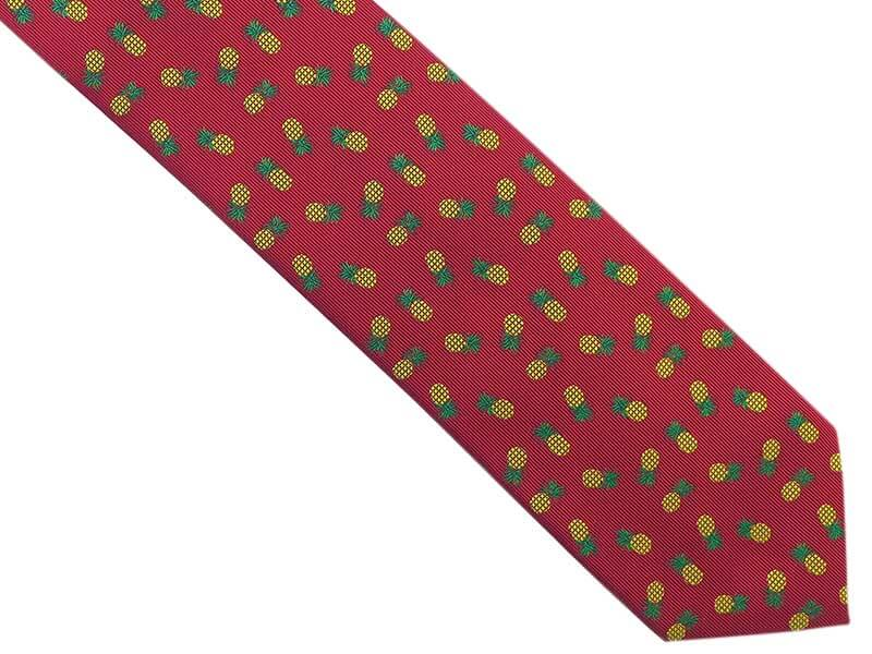 Ciemnoczerwony/bordowy krawat w ananasy D272