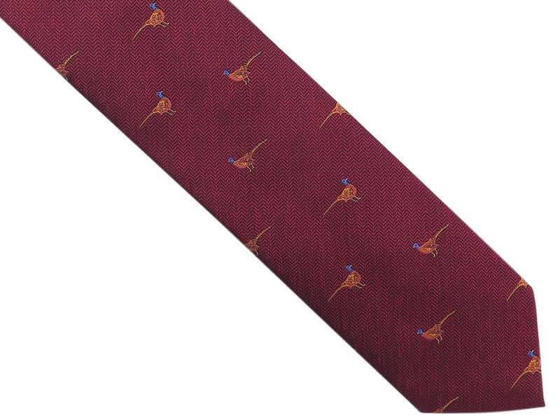Bordowy krawat męski w bażanty D273