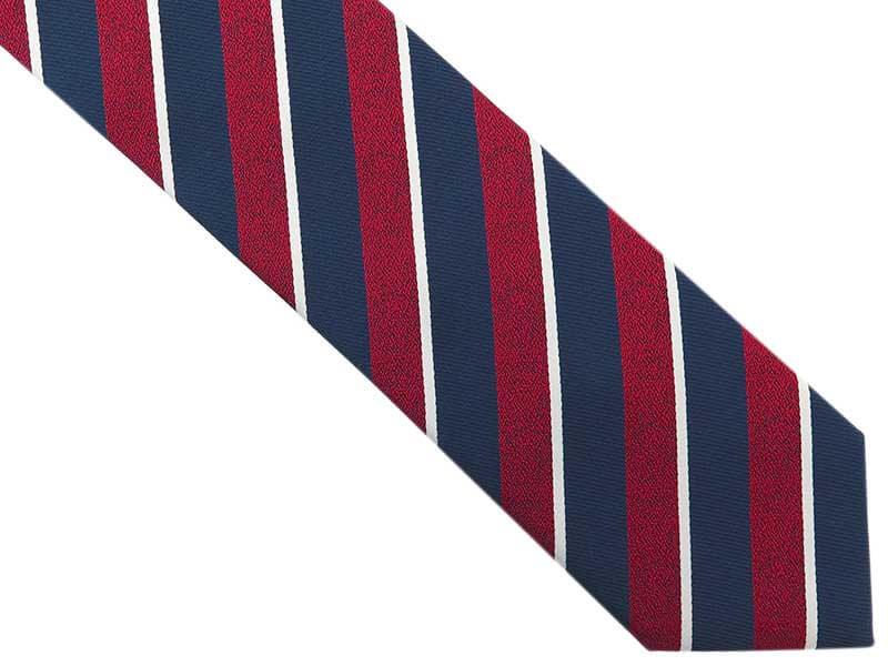 Granatowy krawat męski w czerwone i białe paski D274
