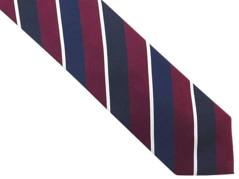 Granatowy krawat męski w bordowe i białe paski D275