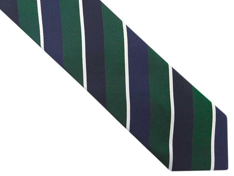 Granatowy krawat męski w zielone i białe paski D276