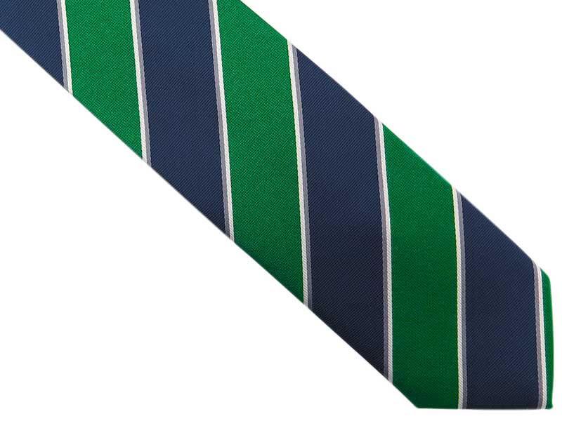 Granatowy krawat męski w zielone i białe paski D277