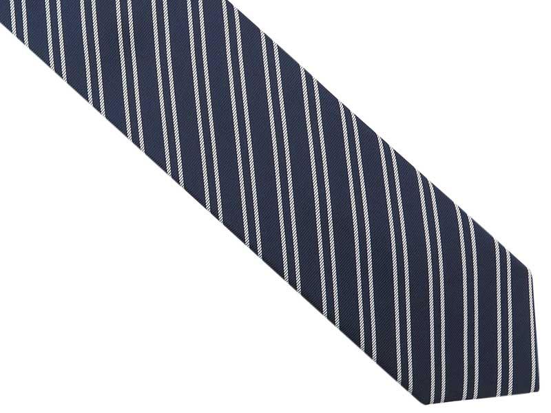 Granatowy krawat męski w białe paski D279