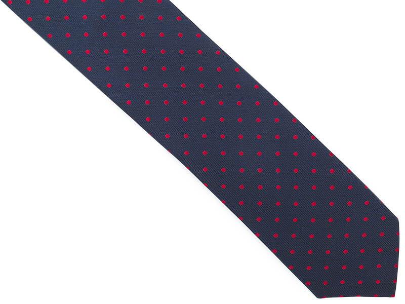 Granatowy krawat męski w czerwone kropki D281