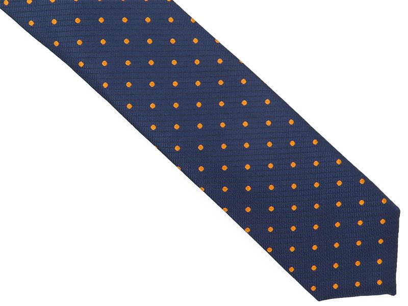 Granatowy krawat męski w pomarańczowe kropki D282