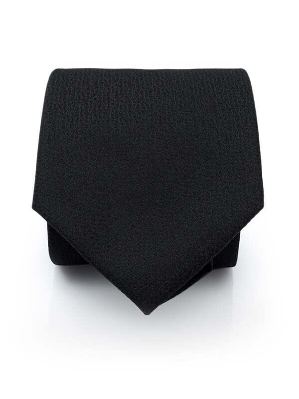 Czarny krawat męski, strukturalny materiał D287
