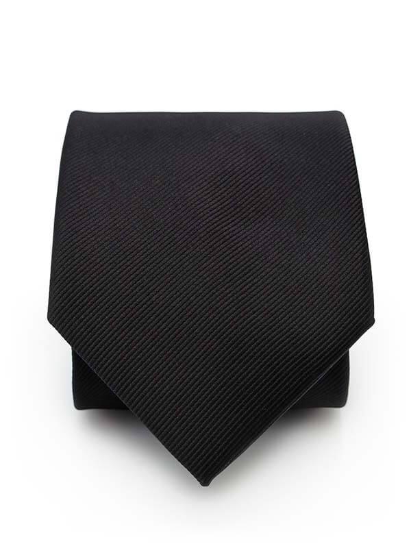 Czarny krawat męski, strukturalny materiał - prążki D290