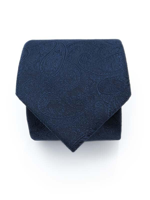 Granatowy krawat męski w delikatny wzór - paisley D292