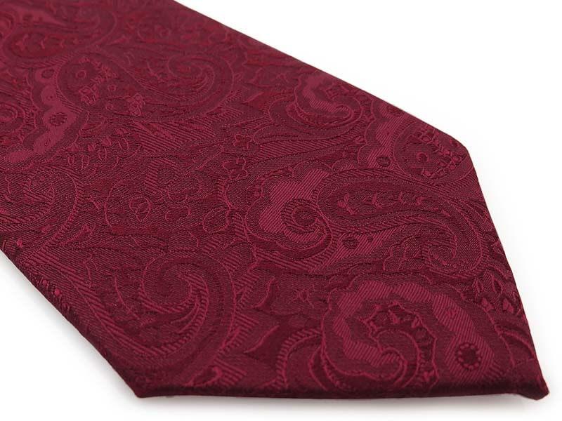Bordowy krawat męski w delikatny wzór - paisley D293