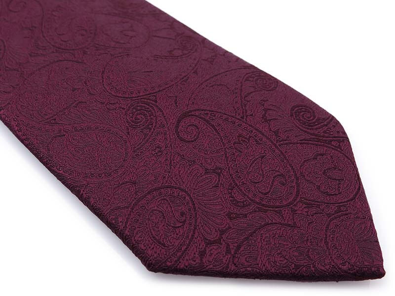 Bordowy/burgundowy krawat męski w delikatny wzór - paisley D294