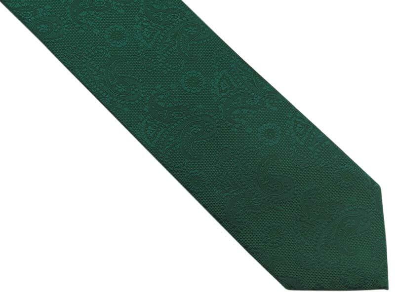Zielony krawat męski w delikatny wzór - paisley D295