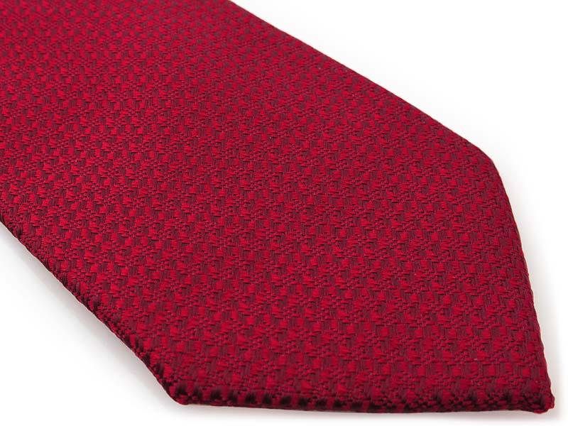 Czerwony krawat męski, strukturalny materiał D297
