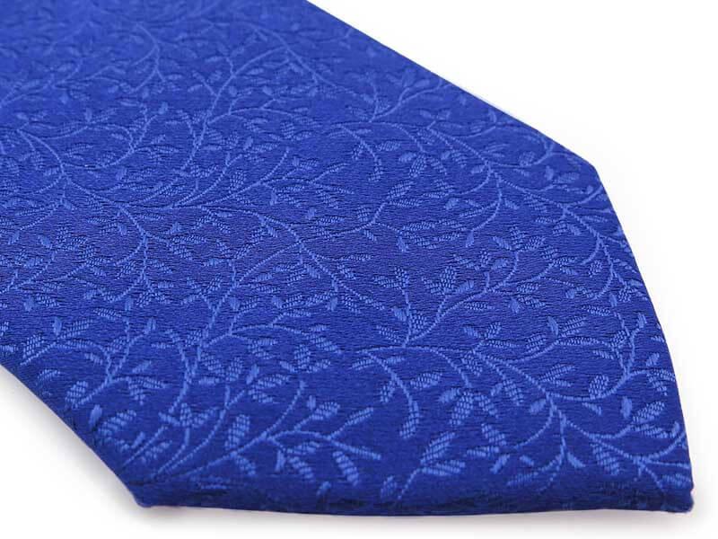Chabrowy krawat męski w delikatny florystyczny wzór D298
