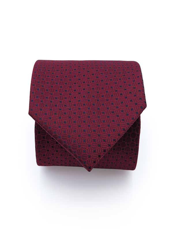 Bordowy krawat męski w geometryczny wzór D301
