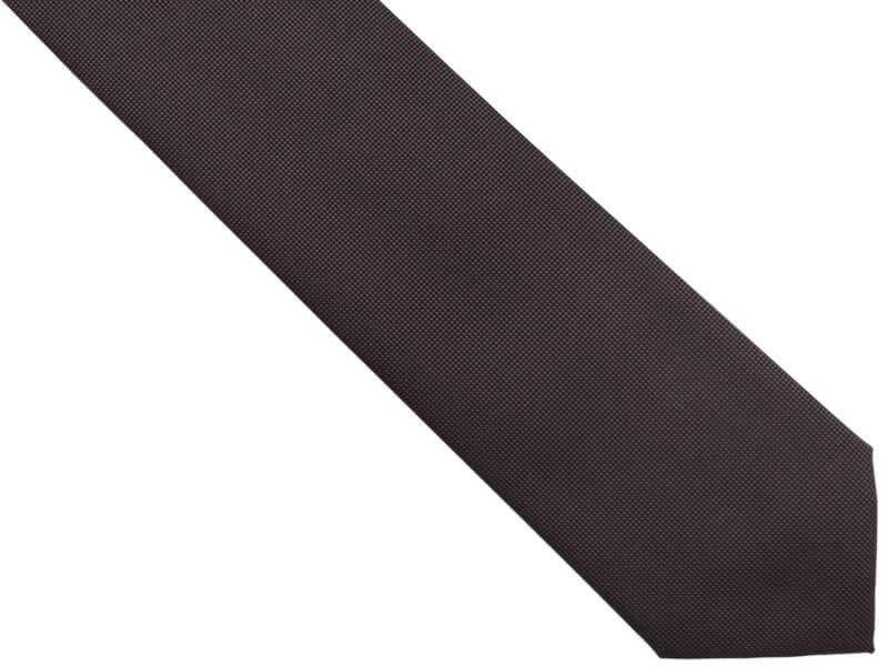 Brązowy krawat męski, strukturalny materiał D302