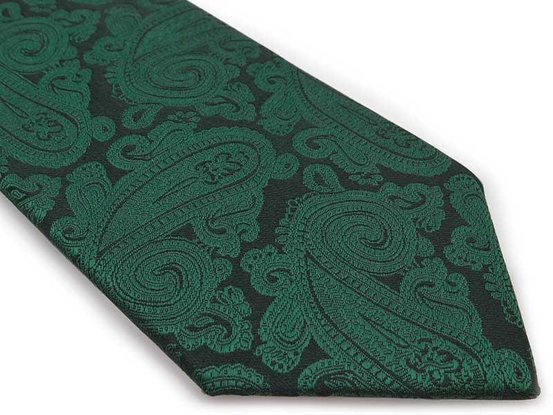 Zielony krawat męski we wzór - paisley D305