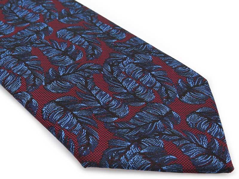 Bordowy krawat męski w niebieskie liście D306