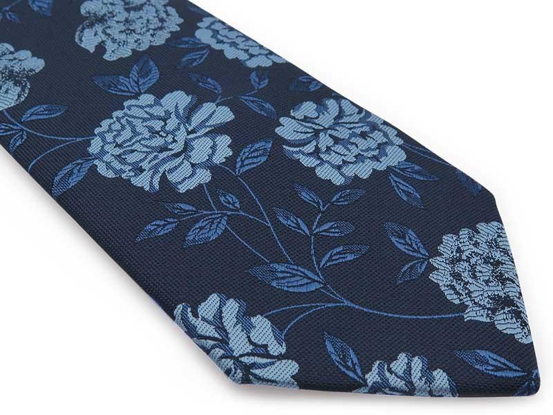 Granatowy krawat męski w błękitne kwiaty D307