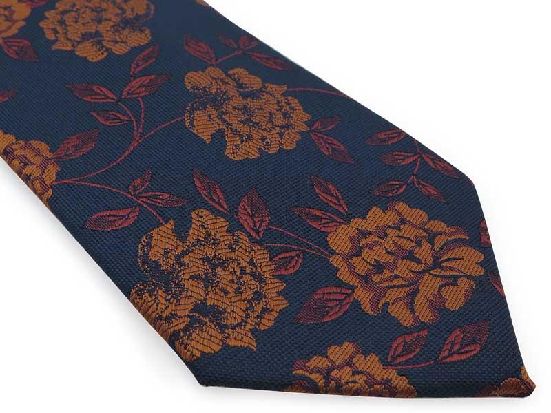 Granatowy krawat męski w miedziane kwiaty D308