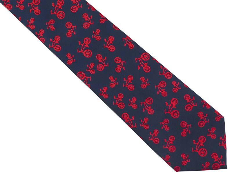Granatowy krawat męski w czerwone rowery C29