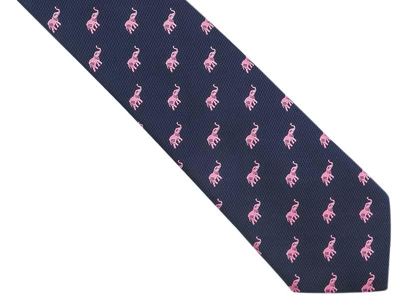 Granatowy krawat męski w różowe słonie C30