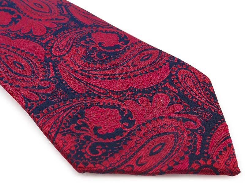 Bordowo-granatowy jedwabny krawat we wzór - paisley R40