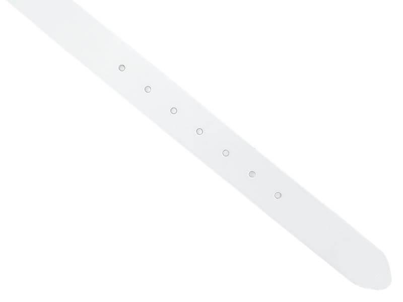 Biały pasek męski - gładki KMG58