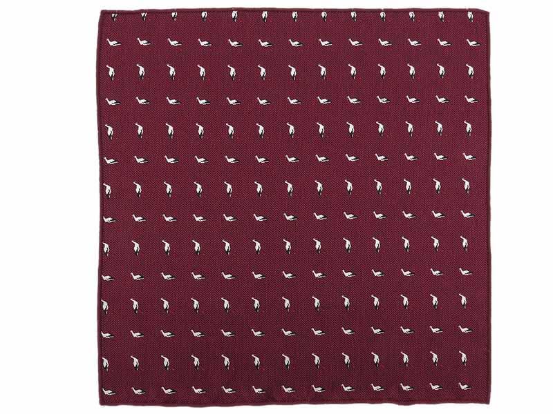 Ciemnoczerwona/bordowa poszetka w bociany E296