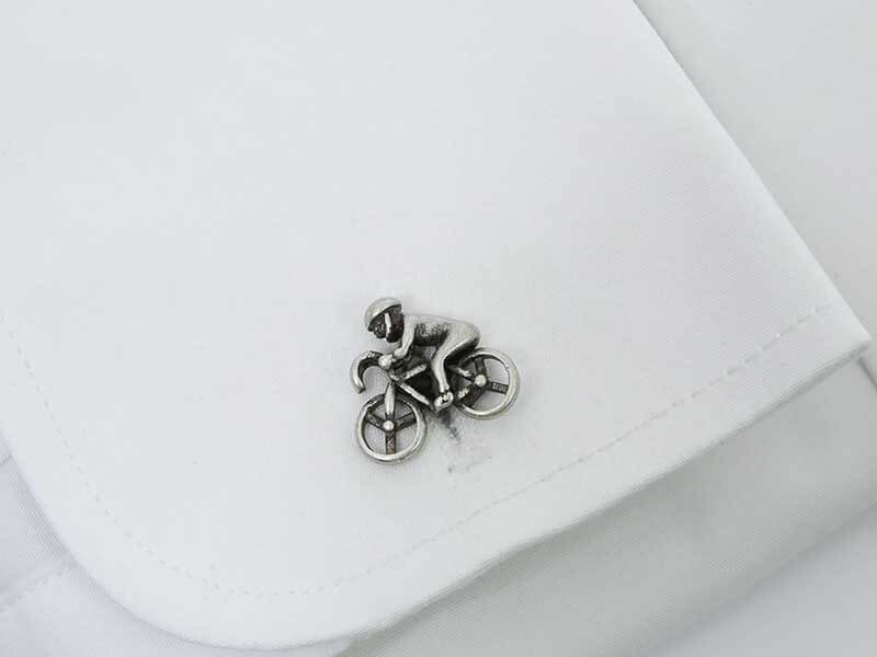 Spinki do mankietów w kolorze starego srebra - kolarz, rowery A222