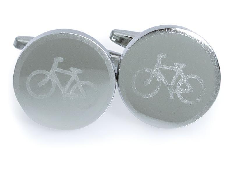 Srebrne okrągłe spinki do mankietów - rowery A228