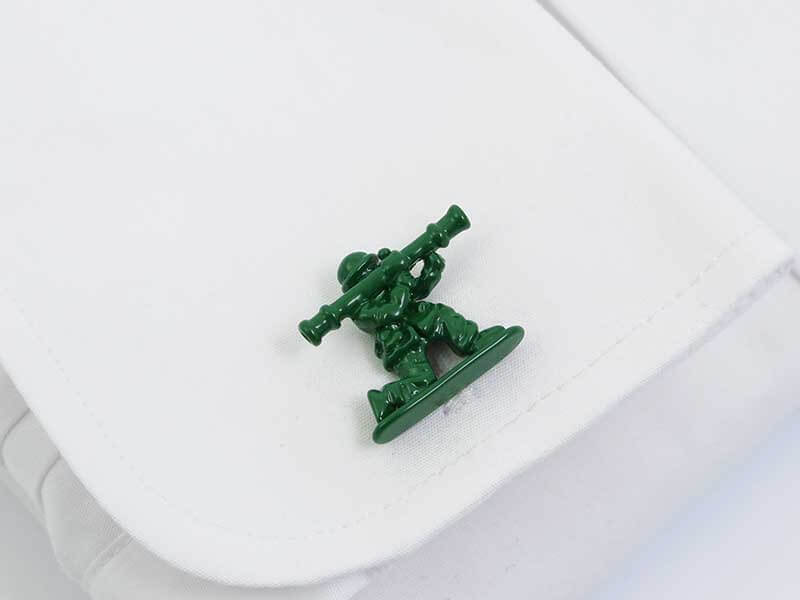Zielone spinki do mankietów - żołnierzyki A232