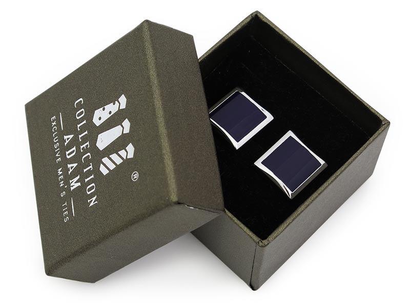 Srebrno-ciemnogranatowe kwadratowe spinki do mankietów A237