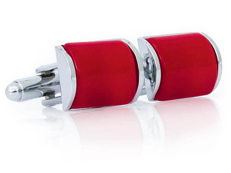 Srebrno-czerwone prostokątne spinki do mankietów A242