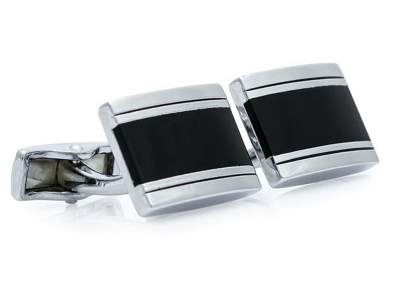 Czarno-srebrne spinki do mankietów A245