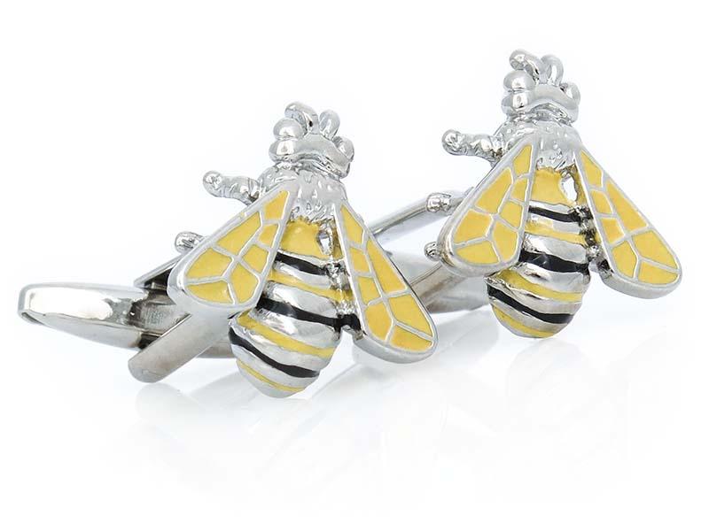 Srebrno-żółte spinki do mankietów - pszczółki L03